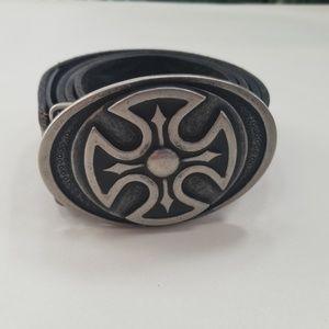Levi's Brown Black Distressed Leather Belt